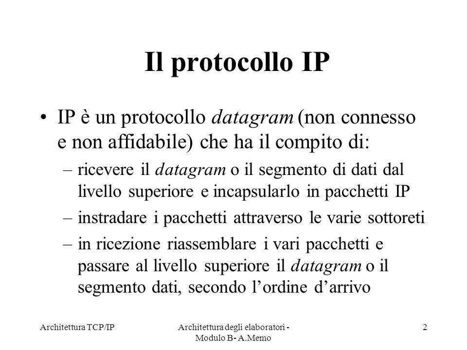 Architettura TCP/IPArchitettura degli elaboratori - Modulo B- A.Memo 2 Il protocollo IP IP è un protocollo datagram (non connesso e non affidabile) ch
