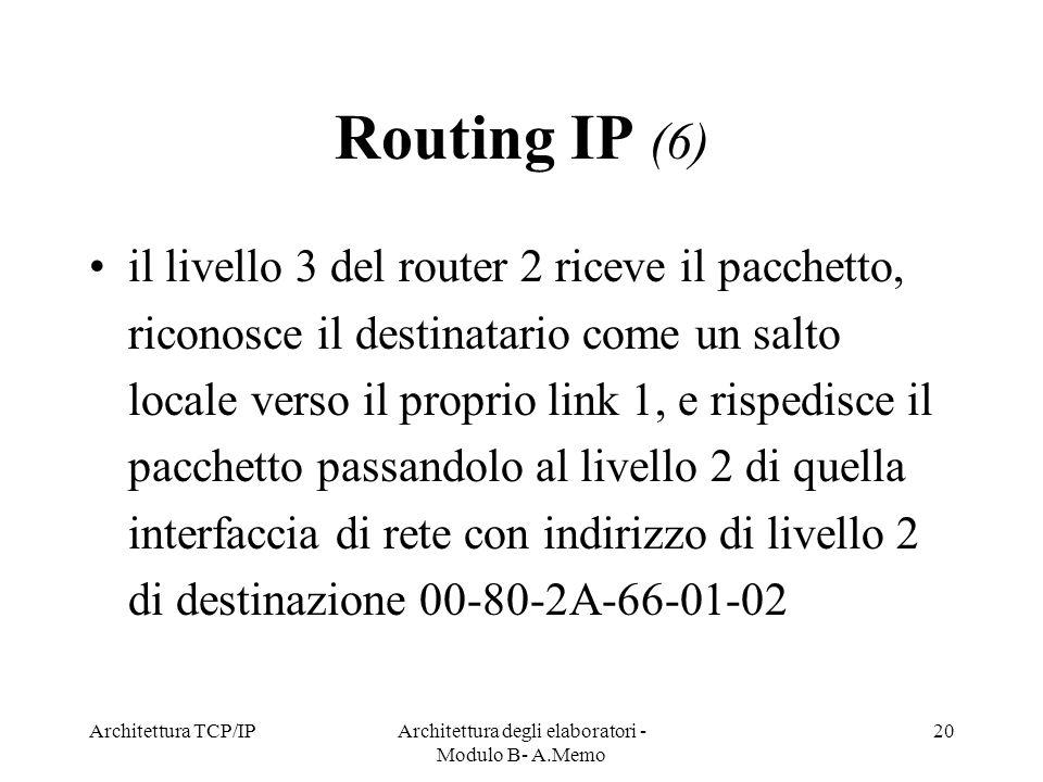 Architettura TCP/IPArchitettura degli elaboratori - Modulo B- A.Memo 20 Routing IP (6) il livello 3 del router 2 riceve il pacchetto, riconosce il des