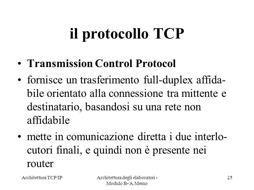 Architettura TCP/IPArchitettura degli elaboratori - Modulo B- A.Memo 25 il protocollo TCP Transmission Control Protocol fornisce un trasferimento full