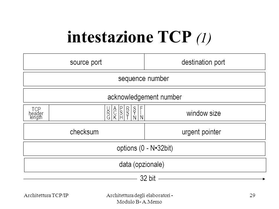 Architettura TCP/IPArchitettura degli elaboratori - Modulo B- A.Memo 29 intestazione TCP (1) 32 bit source portdestination port sequence number acknow