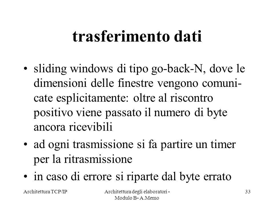 Architettura TCP/IPArchitettura degli elaboratori - Modulo B- A.Memo 33 trasferimento dati sliding windows di tipo go-back-N, dove le dimensioni delle