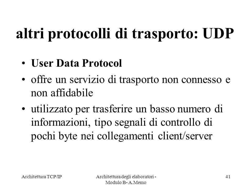 Architettura TCP/IPArchitettura degli elaboratori - Modulo B- A.Memo 41 altri protocolli di trasporto: UDP User Data Protocol offre un servizio di tra