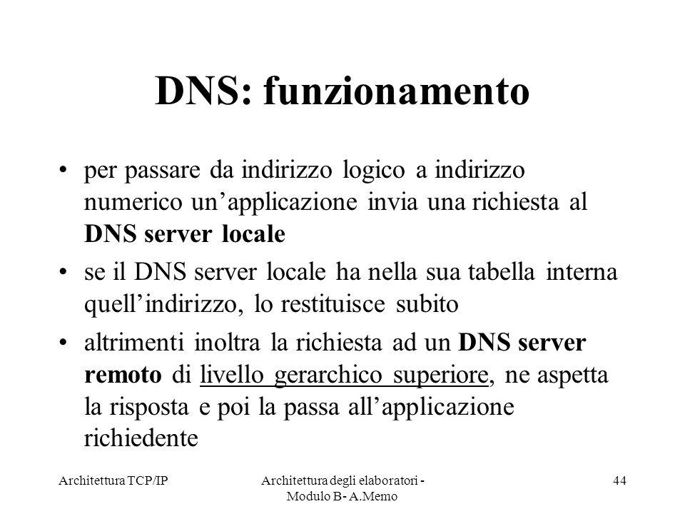 Architettura TCP/IPArchitettura degli elaboratori - Modulo B- A.Memo 44 DNS: funzionamento per passare da indirizzo logico a indirizzo numerico unappl