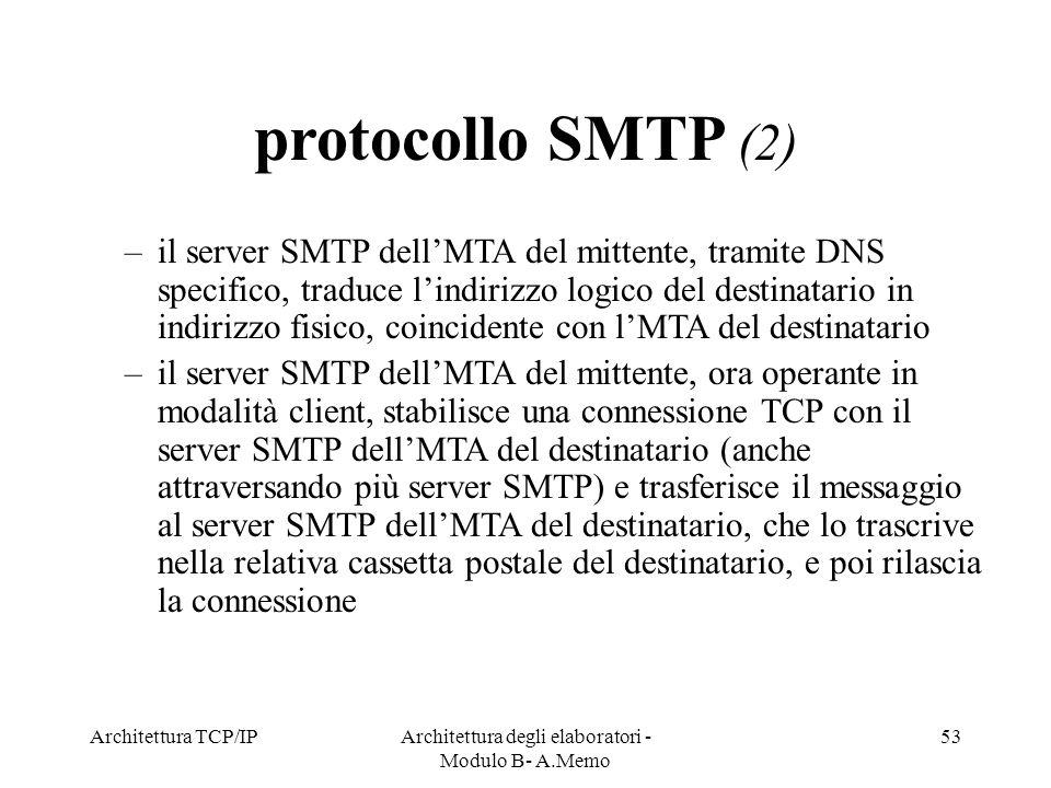 Architettura TCP/IPArchitettura degli elaboratori - Modulo B- A.Memo 53 protocollo SMTP (2) –il server SMTP dellMTA del mittente, tramite DNS specific
