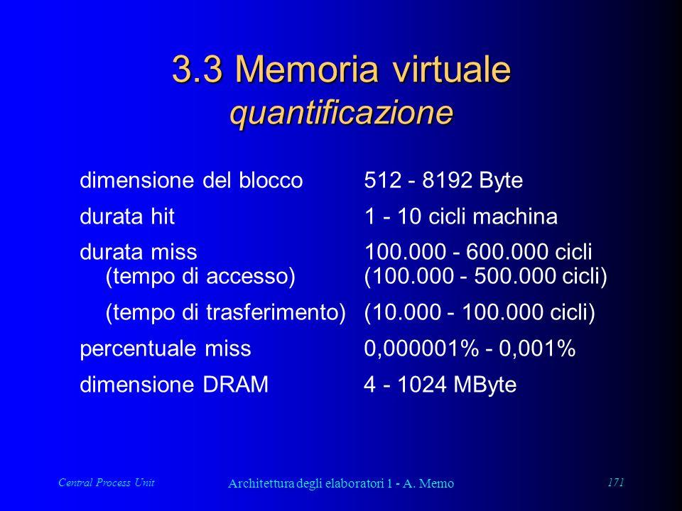 Central Process Unit Architettura degli elaboratori 1 - A. Memo 171 3.3 Memoria virtuale quantificazione dimensione del blocco512 - 8192 Byte durata h