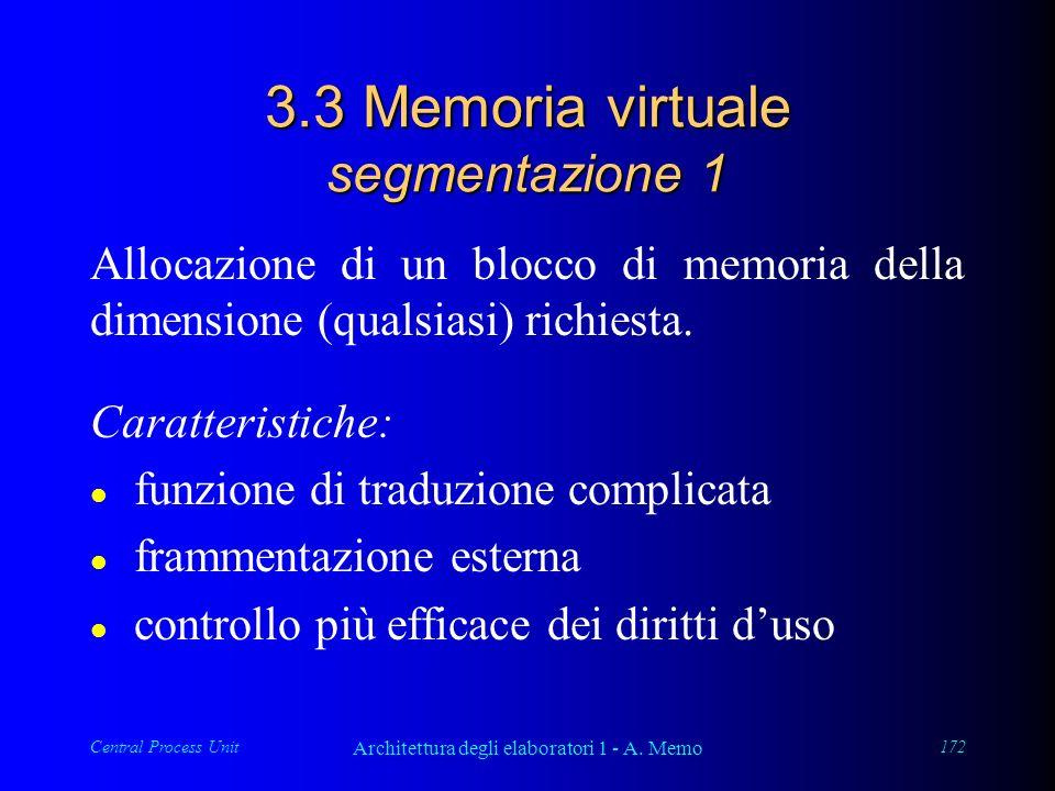 Central Process Unit Architettura degli elaboratori 1 - A. Memo 172 3.3 Memoria virtuale segmentazione 1 Allocazione di un blocco di memoria della dim