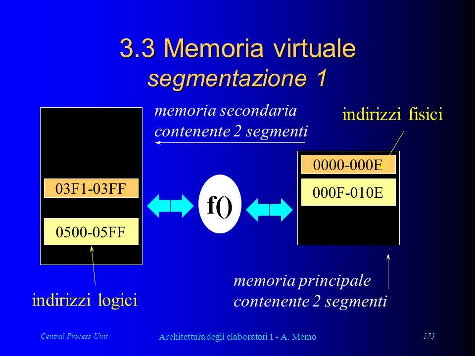 Central Process Unit Architettura degli elaboratori 1 - A. Memo 173 03F1-03FF 0500-05FF memoria secondaria contenente 2 segmenti indirizzi logici f()