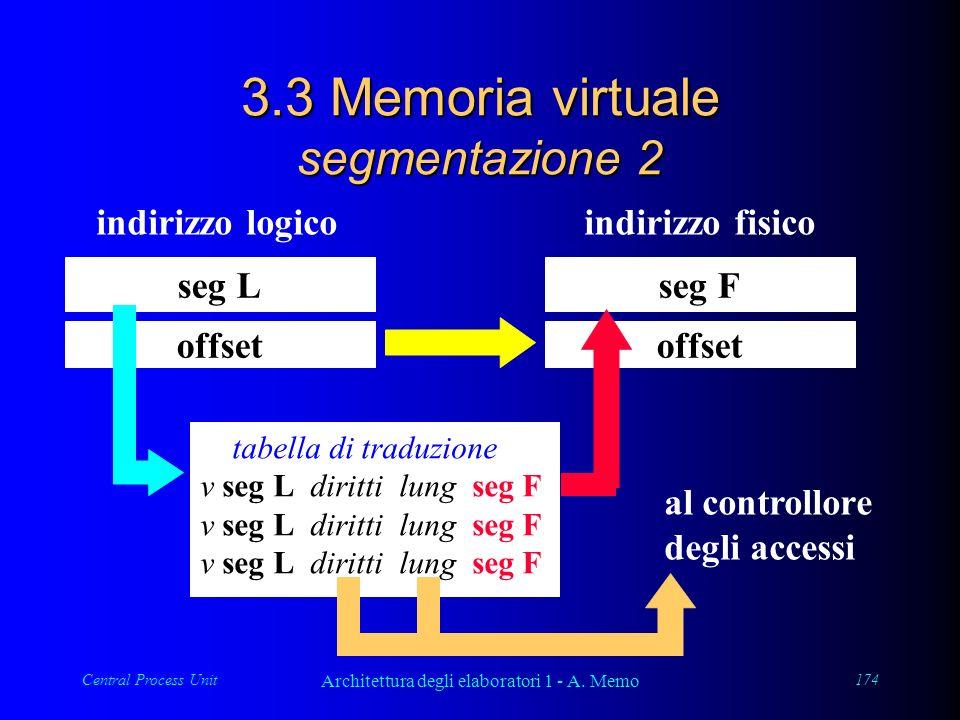 Central Process Unit Architettura degli elaboratori 1 - A. Memo 174 3.3 Memoria virtuale segmentazione 2 seg L offset indirizzo logico tabella di trad