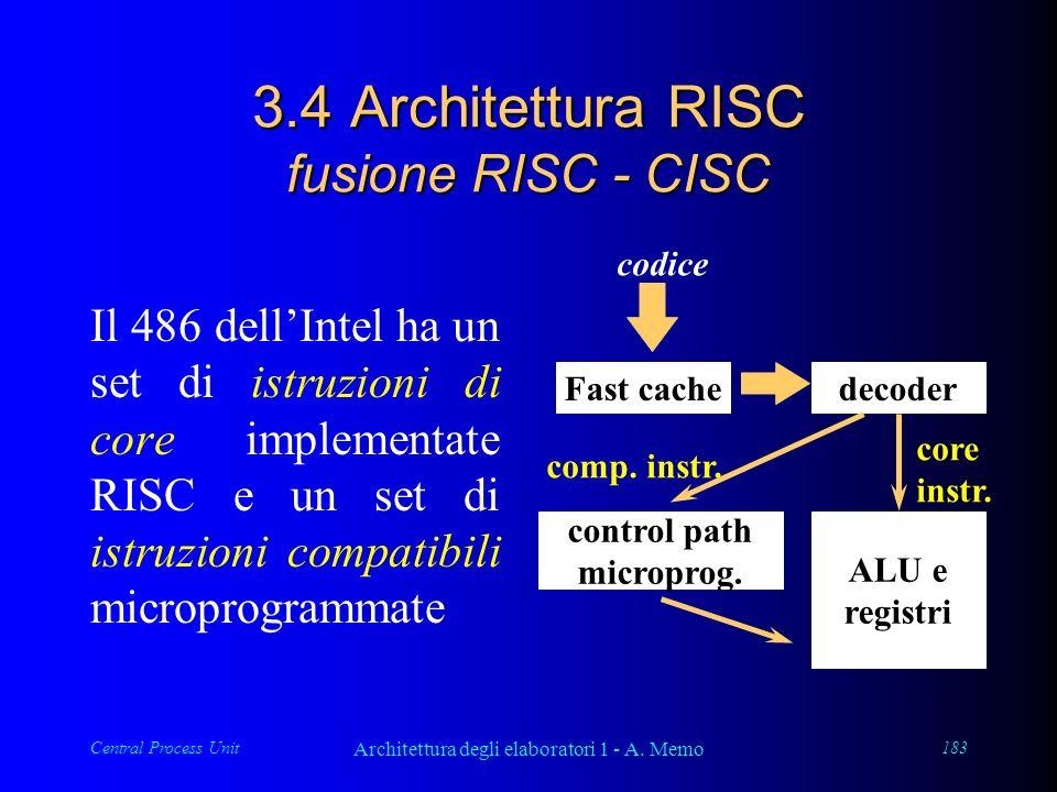 Central Process Unit Architettura degli elaboratori 1 - A. Memo 183 3.4 Architettura RISC fusione RISC - CISC Il 486 dellIntel ha un set di istruzioni