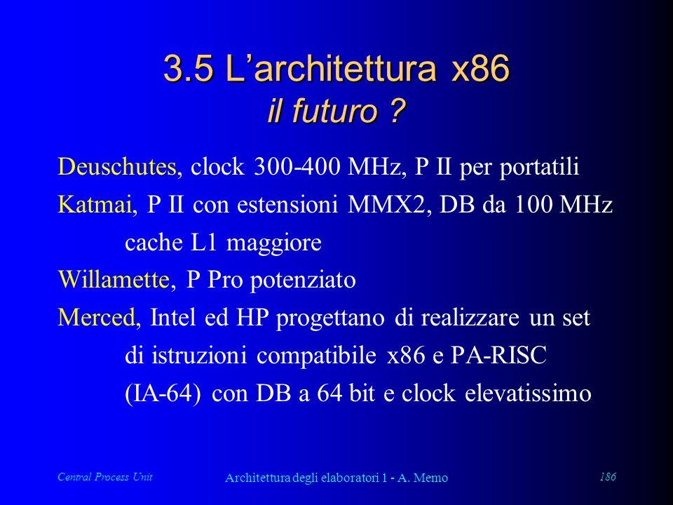 Central Process Unit Architettura degli elaboratori 1 - A. Memo 186 3.5 Larchitettura x86 il futuro ? Deuschutes, clock 300-400 MHz, P II per portatil