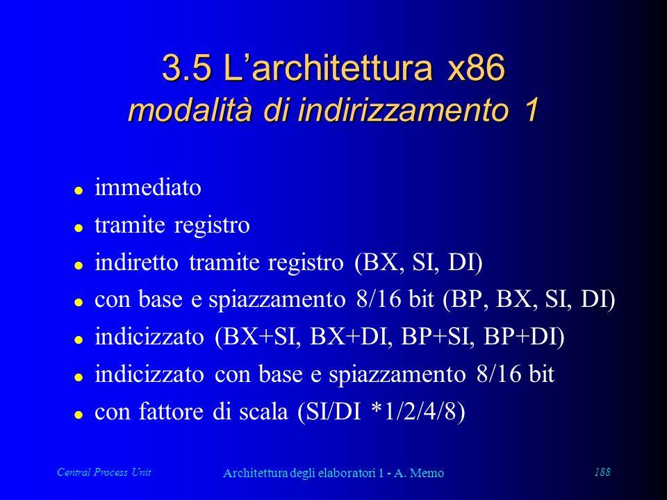 Central Process Unit Architettura degli elaboratori 1 - A. Memo 188 3.5 Larchitettura x86 modalità di indirizzamento 1 l immediato l tramite registro