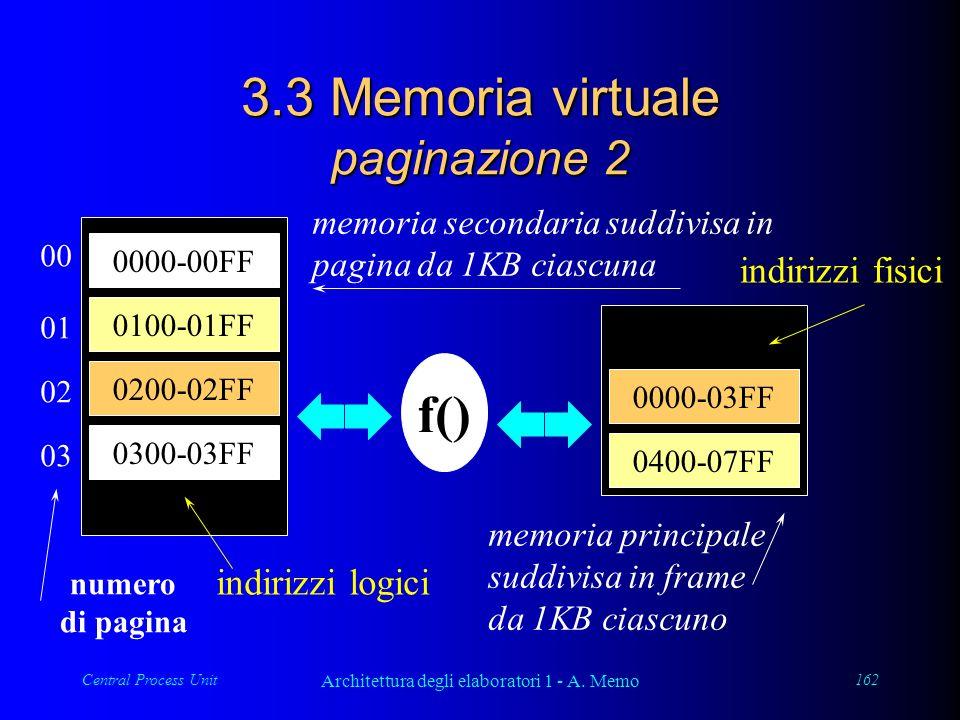 Central Process Unit Architettura degli elaboratori 1 - A. Memo 162 3.3 Memoria virtuale paginazione 2 0000-00FF 0100-01FF 0200-02FF 0300-03FF memoria