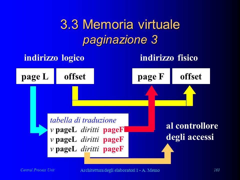 Central Process Unit Architettura degli elaboratori 1 - A. Memo 163 3.3 Memoria virtuale paginazione 3 page Loffset indirizzo logico tabella di traduz