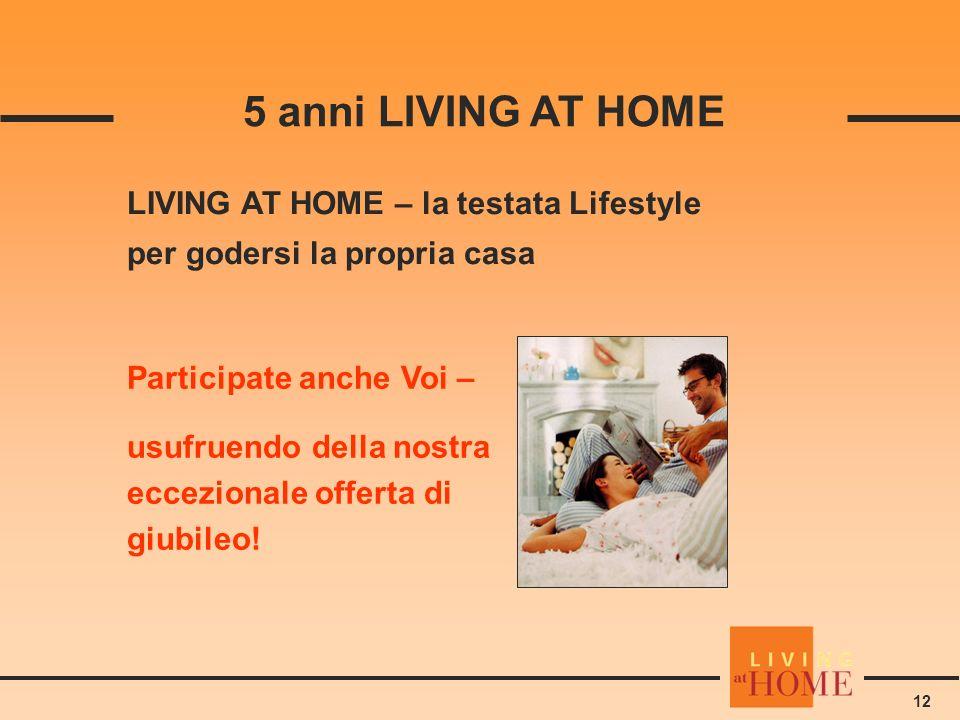 12 5 anni LIVING AT HOME LIVING AT HOME – la testata Lifestyle per godersi la propria casa Participate anche Voi – usufruendo della nostra eccezionale offerta di giubileo!