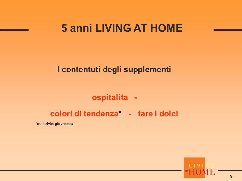 9 5 anni LIVING AT HOME I contentuti degli supplementi ospitalita - colori di tendenza* - fare i dolci *esclusività già venduta