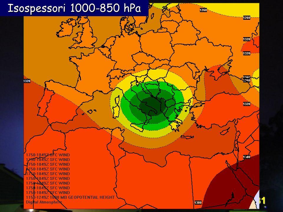 Corso Digital Atmosphere - I livello 31 Isospessori 1000-850 hPa