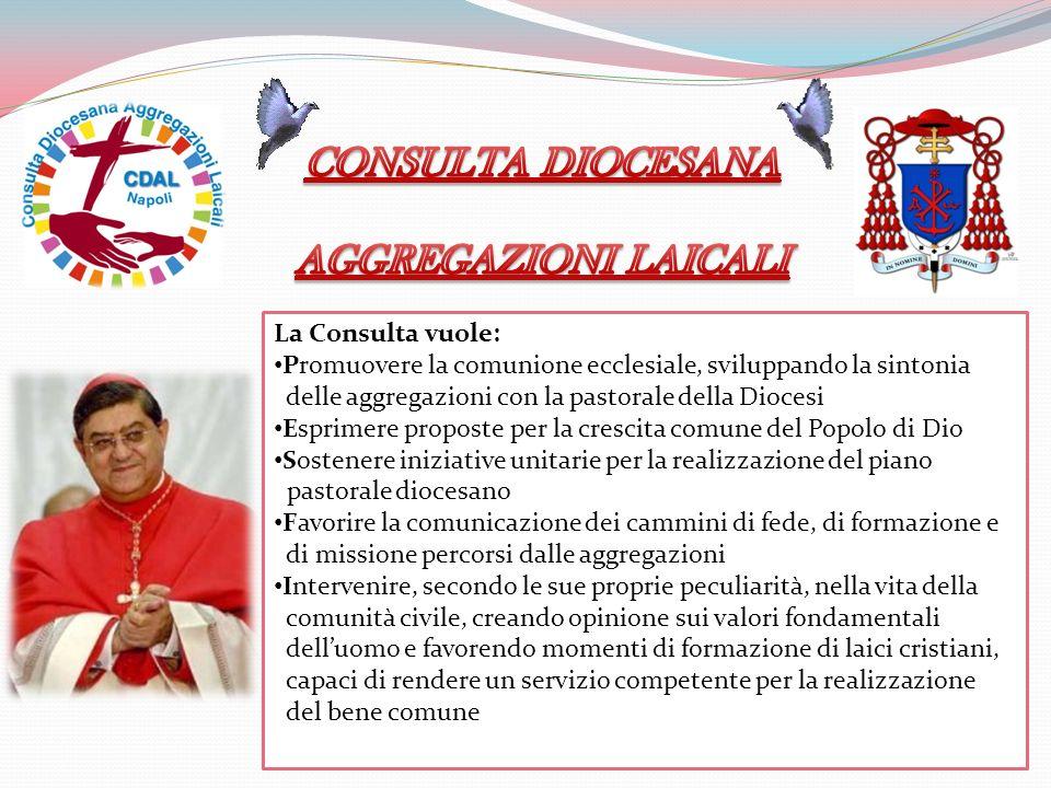 La Consulta vuole: Promuovere la comunione ecclesiale, sviluppando la sintonia delle aggregazioni con la pastorale della Diocesi Esprimere proposte pe