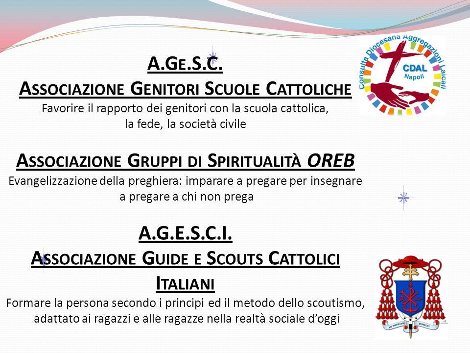 A.G E.S.C. A SSOCIAZIONE G ENITORI S CUOLE C ATTOLICHE Favorire il rapporto dei genitori con la scuola cattolica, la fede, la società civile A SSOCIAZ