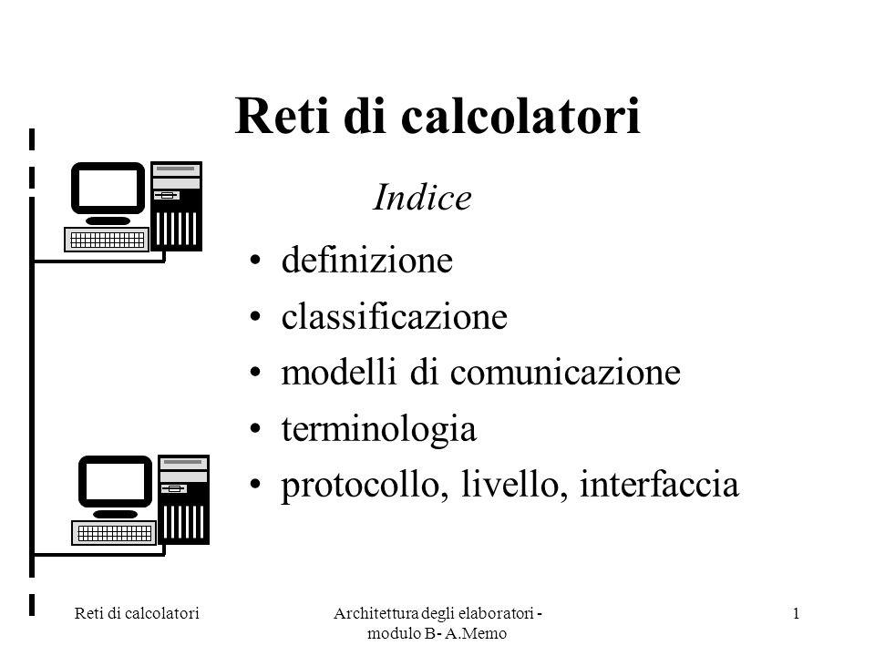 Reti di calcolatoriArchitettura degli elaboratori - modulo B- A.Memo 1 Reti di calcolatori definizione classificazione modelli di comunicazione terminologia protocollo, livello, interfaccia Indice