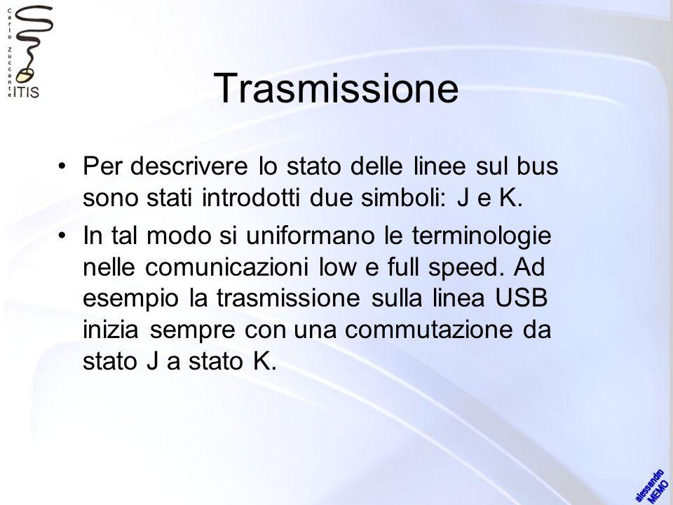 Trasmissione Per descrivere lo stato delle linee sul bus sono stati introdotti due simboli: J e K. In tal modo si uniformano le terminologie nelle com