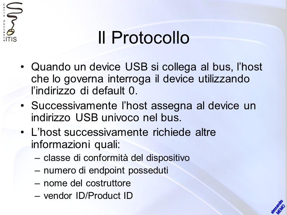 Il Protocollo Quando un device USB si collega al bus, lhost che lo governa interroga il device utilizzando lindirizzo di default 0. Successivamente lh