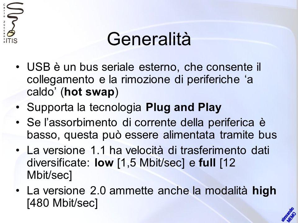 Generalità USB è un bus seriale esterno, che consente il collegamento e la rimozione di periferiche a caldo (hot swap) Supporta la tecnologia Plug and