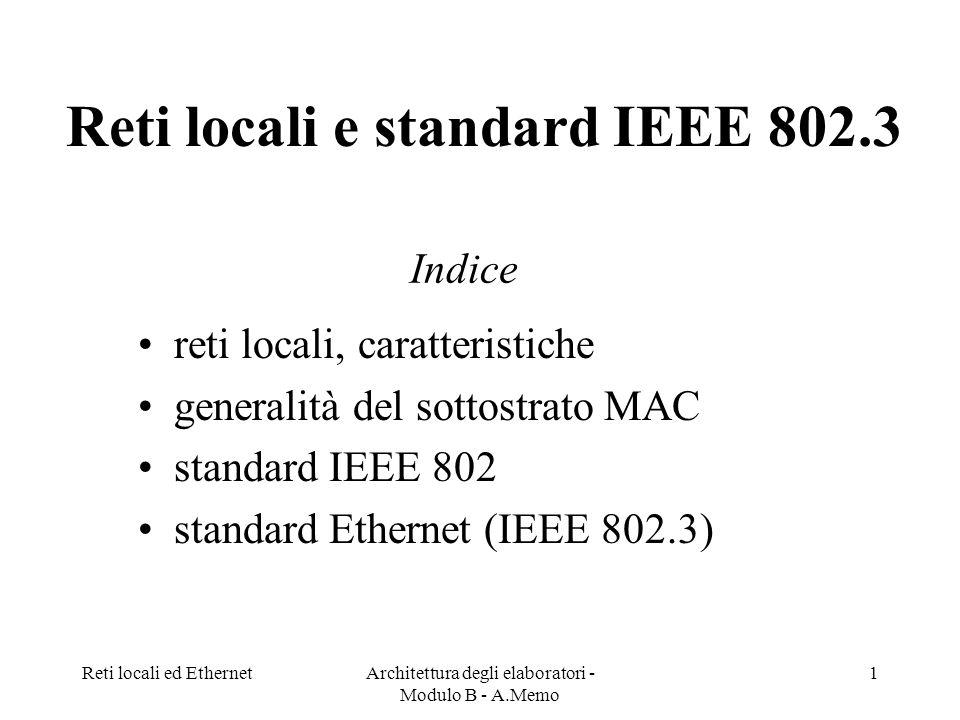 Reti locali ed EthernetArchitettura degli elaboratori - Modulo B - A.Memo 1 Reti locali e standard IEEE 802.3 reti locali, caratteristiche generalità del sottostrato MAC standard IEEE 802 standard Ethernet (IEEE 802.3) Indice