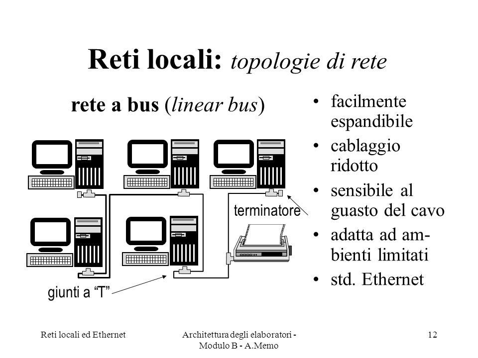 Reti locali ed EthernetArchitettura degli elaboratori - Modulo B - A.Memo 12 Reti locali: topologie di rete giunti a T terminatore facilmente espandibile cablaggio ridotto sensibile al guasto del cavo adatta ad am- bienti limitati std.