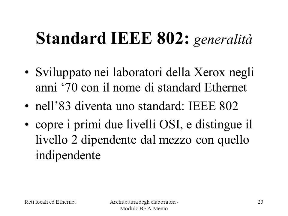 Reti locali ed EthernetArchitettura degli elaboratori - Modulo B - A.Memo 23 Standard IEEE 802: generalità Sviluppato nei laboratori della Xerox negli anni 70 con il nome di standard Ethernet nell83 diventa uno standard: IEEE 802 copre i primi due livelli OSI, e distingue il livello 2 dipendente dal mezzo con quello indipendente