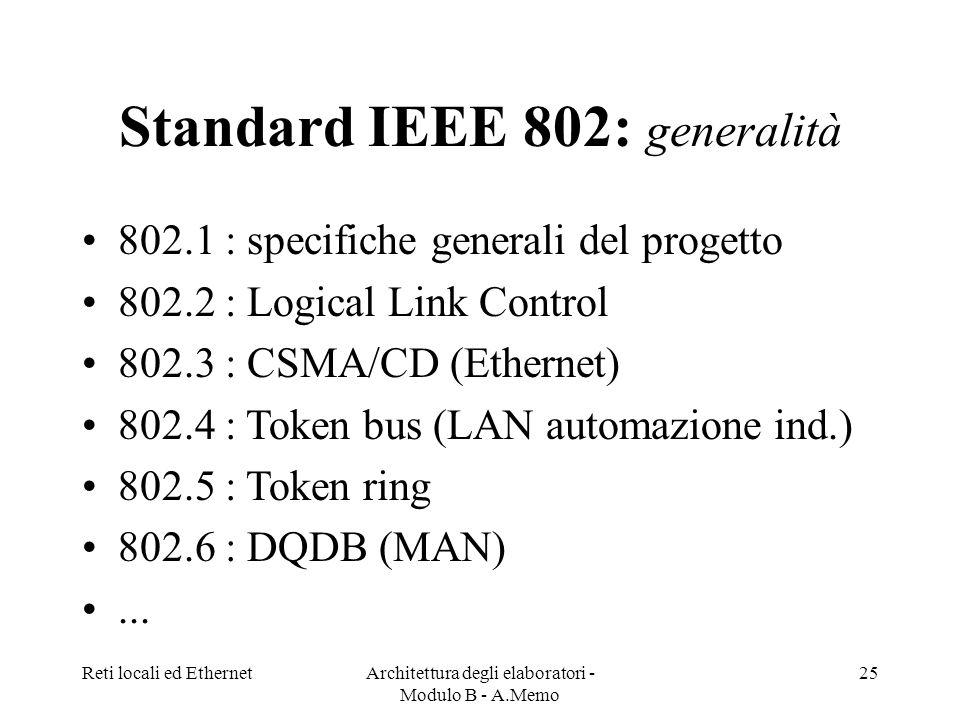 Reti locali ed EthernetArchitettura degli elaboratori - Modulo B - A.Memo 25 Standard IEEE 802: generalità 802.1 : specifiche generali del progetto 802.2 : Logical Link Control 802.3 : CSMA/CD (Ethernet) 802.4 : Token bus (LAN automazione ind.) 802.5 : Token ring 802.6 : DQDB (MAN)...
