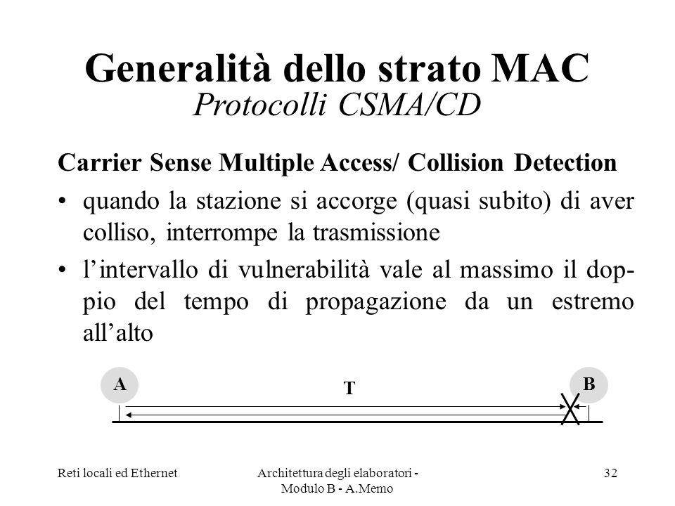 Reti locali ed EthernetArchitettura degli elaboratori - Modulo B - A.Memo 32 Generalità dello strato MAC Protocolli CSMA/CD Carrier Sense Multiple Access/ Collision Detection quando la stazione si accorge (quasi subito) di aver colliso, interrompe la trasmissione lintervallo di vulnerabilità vale al massimo il dop- pio del tempo di propagazione da un estremo allalto AB T
