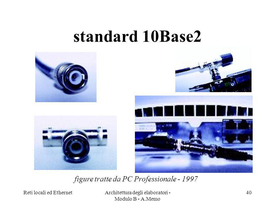 Reti locali ed EthernetArchitettura degli elaboratori - Modulo B - A.Memo 40 standard 10Base2 figure tratte da PC Professionale - 1997