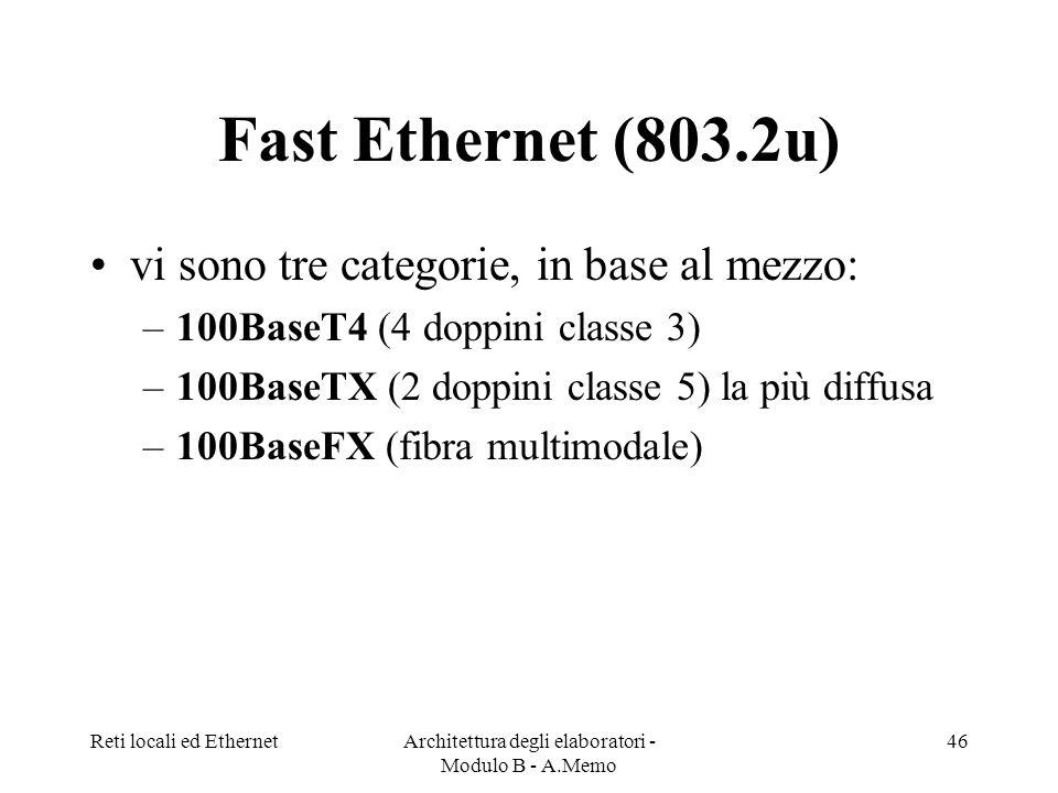 Reti locali ed EthernetArchitettura degli elaboratori - Modulo B - A.Memo 46 Fast Ethernet (803.2u) vi sono tre categorie, in base al mezzo: –100BaseT4 (4 doppini classe 3) –100BaseTX (2 doppini classe 5) la più diffusa –100BaseFX (fibra multimodale)