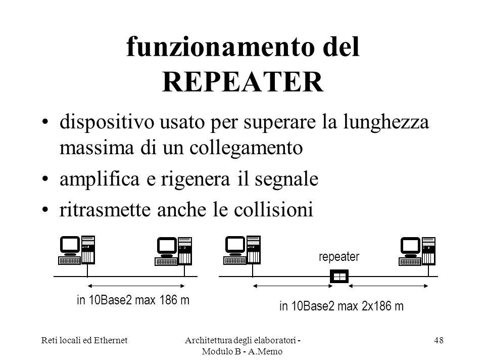 Reti locali ed EthernetArchitettura degli elaboratori - Modulo B - A.Memo 48 funzionamento del REPEATER dispositivo usato per superare la lunghezza massima di un collegamento amplifica e rigenera il segnale ritrasmette anche le collisioni in 10Base2 max 186 m in 10Base2 max 2x186 m repeater
