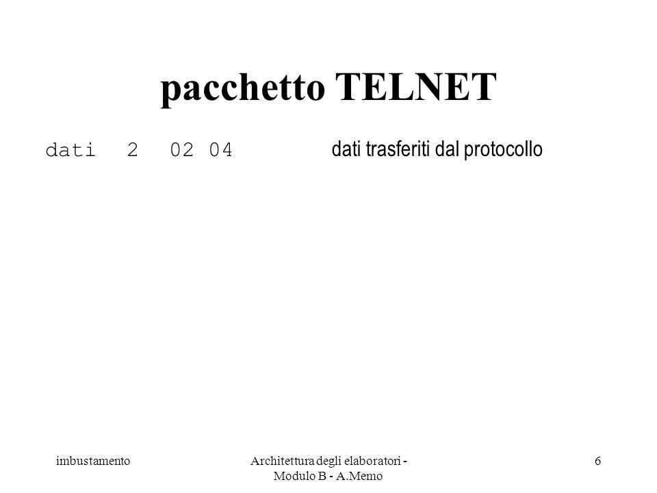 imbustamentoArchitettura degli elaboratori - Modulo B - A.Memo 6 dati202 04 dati trasferiti dal protocollo pacchetto TELNET