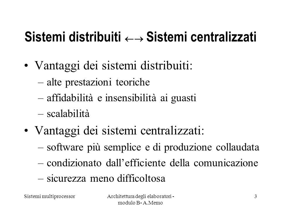 Sistemi multiprocessorArchitettura degli elaboratori - modulo B- A.Memo 3 Sistemi distribuiti Sistemi centralizzati Vantaggi dei sistemi distribuiti: