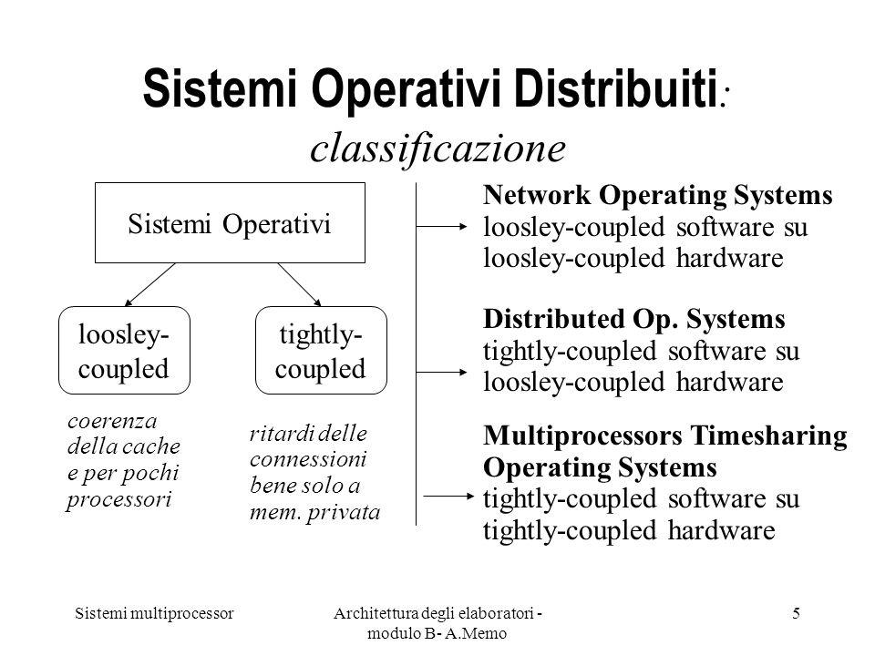 Sistemi multiprocessorArchitettura degli elaboratori - modulo B- A.Memo 5 Sistemi Operativi Distribuiti : classificazione Sistemi Operativi loosley- c