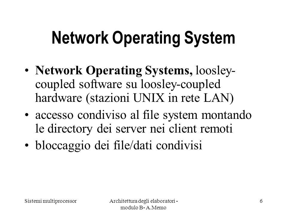 Sistemi multiprocessorArchitettura degli elaboratori - modulo B- A.Memo 6 Network Operating System Network Operating Systems, loosley- coupled softwar