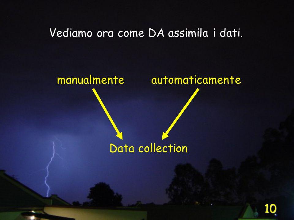 10 Vediamo ora come DA assimila i dati. manualmente Data collection automaticamente