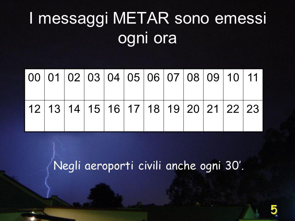 5 I messaggi METAR sono emessi ogni ora 000102030405060708091011 121314151617181920212223 Negli aeroporti civili anche ogni 30.