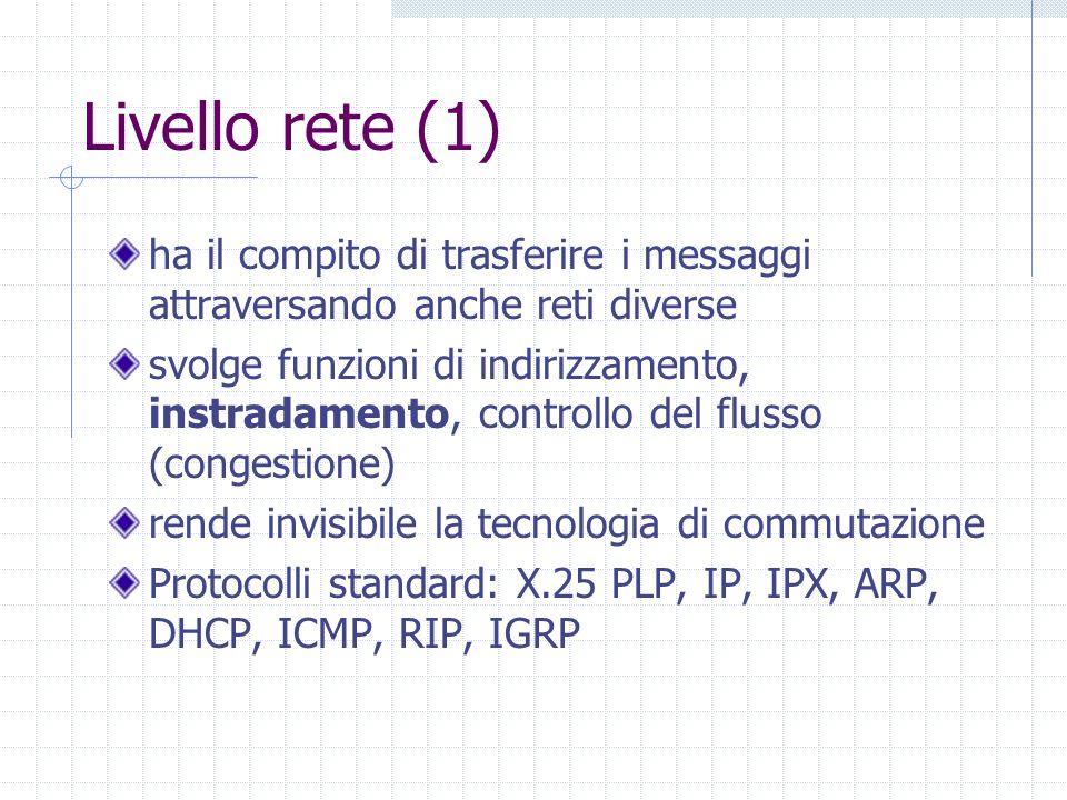 Livello rete (1) ha il compito di trasferire i messaggi attraversando anche reti diverse svolge funzioni di indirizzamento, instradamento, controllo d