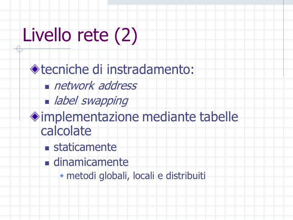 Livello rete (2) tecniche di instradamento: network address label swapping implementazione mediante tabelle calcolate staticamente dinamicamente metod