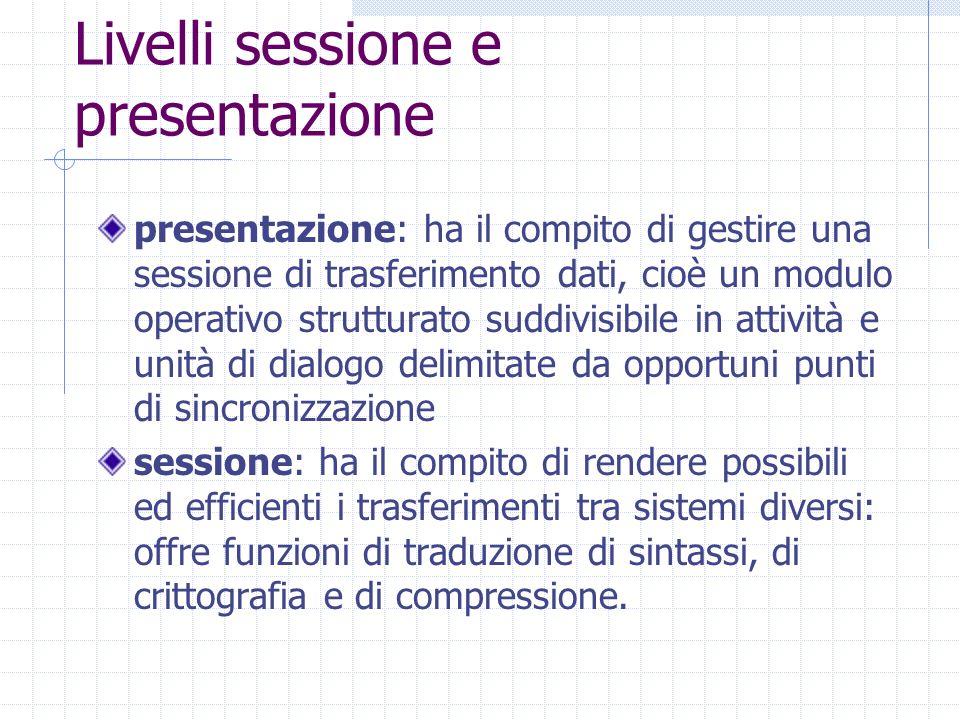 Livelli sessione e presentazione presentazione: ha il compito di gestire una sessione di trasferimento dati, cioè un modulo operativo strutturato sudd
