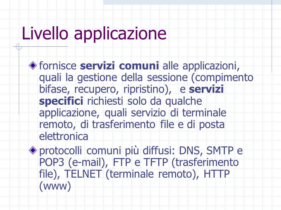 Livello applicazione fornisce servizi comuni alle applicazioni, quali la gestione della sessione (compimento bifase, recupero, ripristino), e servizi