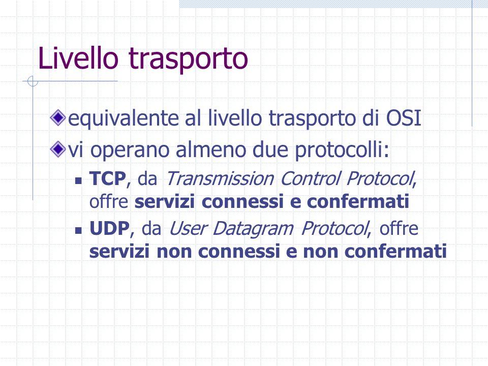 Livello trasporto equivalente al livello trasporto di OSI vi operano almeno due protocolli: TCP, da Transmission Control Protocol, offre servizi conne
