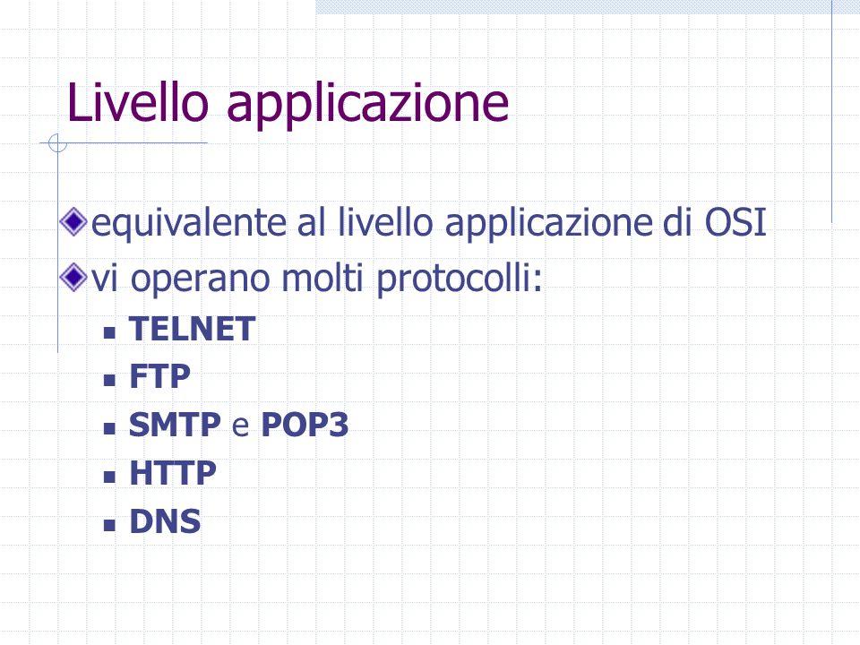 Livello applicazione equivalente al livello applicazione di OSI vi operano molti protocolli: TELNET FTP SMTP e POP3 HTTP DNS