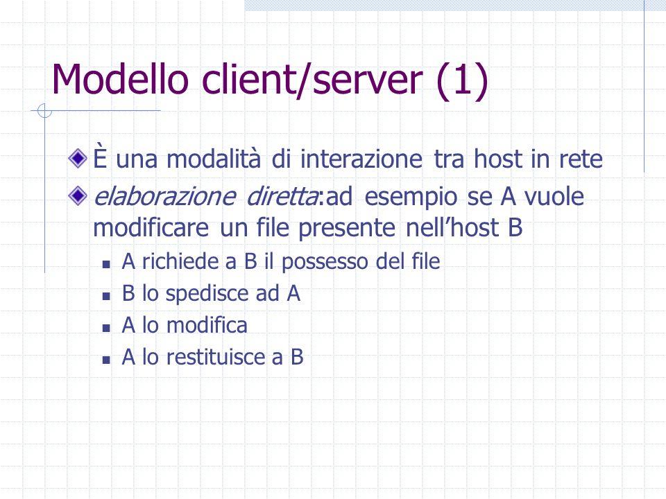 Modello client/server (1) È una modalità di interazione tra host in rete elaborazione diretta:ad esempio se A vuole modificare un file presente nellho
