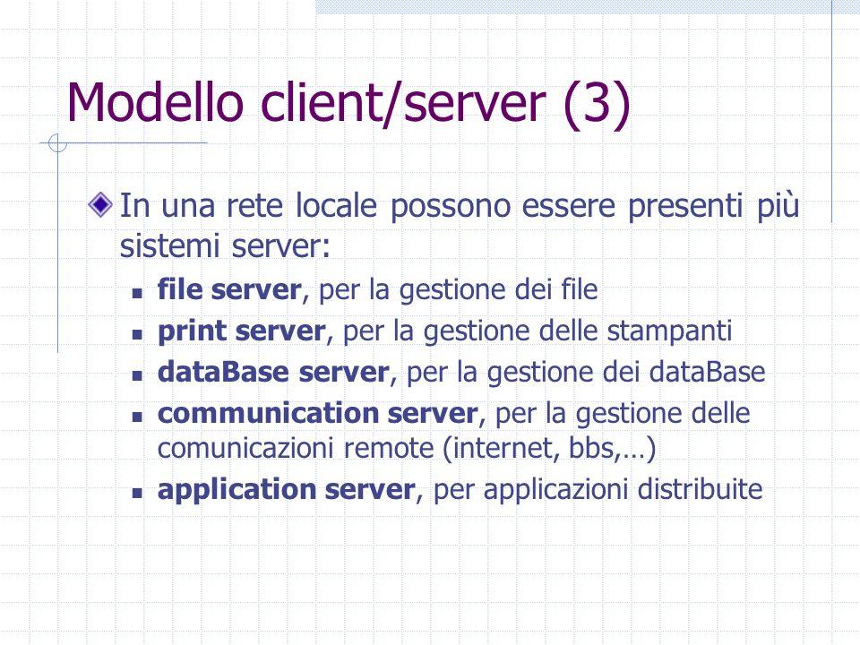 Modello client/server (3) In una rete locale possono essere presenti più sistemi server: file server, per la gestione dei file print server, per la ge