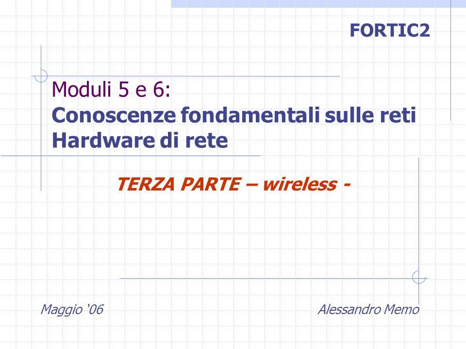 Maggio 06 Alessandro Memo FORTIC2 Moduli 5 e 6: Conoscenze fondamentali sulle reti Hardware di rete TERZA PARTE – wireless -