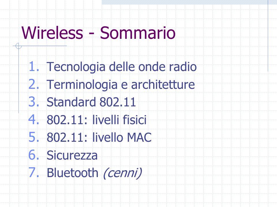 Wireless - Sommario 1. Tecnologia delle onde radio 2. Terminologia e architetture 3. Standard 802.11 4. 802.11: livelli fisici 5. 802.11: livello MAC